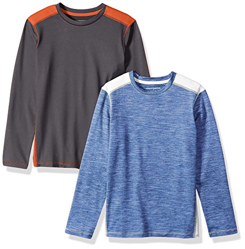 Amazon Essentials Big Boys' 2-Pack Long-Sleeve Pieced Active Tee, Grey/Orange/Blue/White, Large