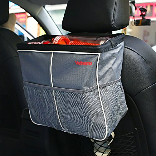 Vehemo Car Seat Back Organizer, Car Garbage Can, Multi-pocket Travel Storage Bag with 3 Side Pockets for Toys,...