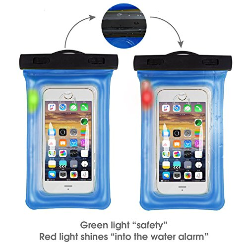 Sunbox Floating Waterproof Case with LED Flashing Warning Light and Neck Strap, Cellphone Outdoor Sports Dry Bag Pouch for iPhone X 8 7 Plus SE 5S, Note8,Samsung Galaxy S8 S7 edge up to 6 Inch (BLUE) (Flashing Floating)