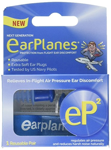EarPlanes eP2 Reusable Earplugs 1 Pair, Travel Case, Extra Soft Earplugs with Tether. Tested by US Navy Pilots.