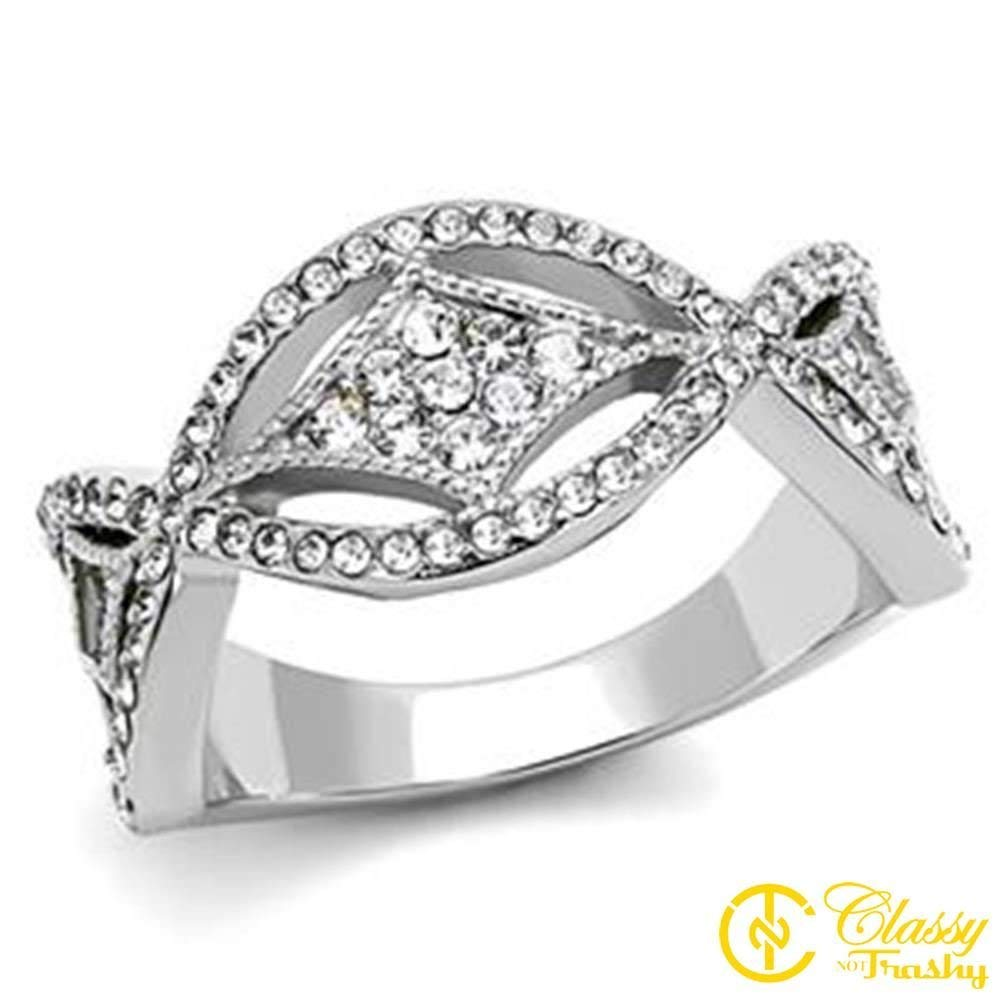 Classy Not Trashy Clear Crystal Crossover Style Womens