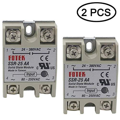 TIHOOD 2PCS SSR-25AA Input 80-250V AC Output 24V-380VAC Solid State Relay (SSR-25AA)