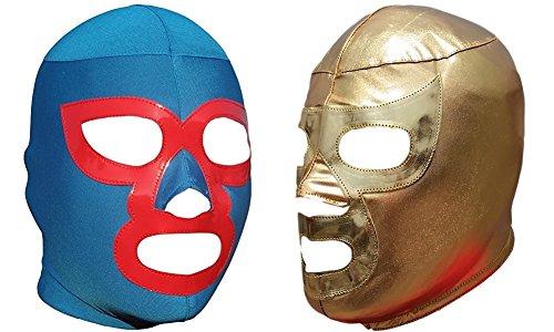 Deportes Martinez Nacho Libre & Ramses Combo Lycra Lucha Libre Luchador Wrestling Masks Adult Size
