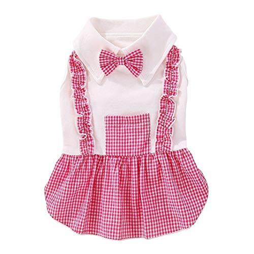 YOTATO 1Pc Pet Plaids Clothes Dog Boy Jumpsuits Dog Girl Dress Fashion Skirt Bowknot Sweety Small Medium Dogs ()