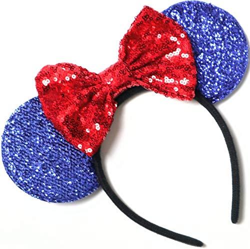 CLGIFT July 4th minnie ears, Snow white minnie, Red Silver gold blue minnie ears, Rainbow Sparkle Mouse Ears,Classic Red Sequin Minnie Ears (Snow white) (Mickeys Snow)