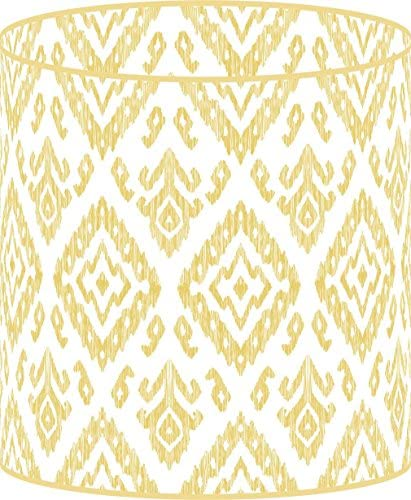 LampPix 10 Inch Table Lamp Shade – Ikat Vintage Gold Canvas Desk Lampshade Spider Fitting
