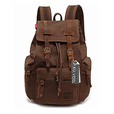 P.KU.VDSL Canvas Laptop Backpack, AUGUR SERIES Vintage Leather Rucksack, Military Satchel Backpack for Men Women Traveling Hiking