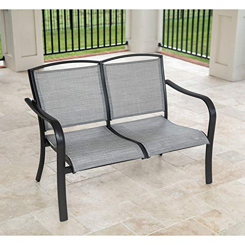 (Hanover Foxhill All-Weather Grade Aluminum Loveseat with Sunbrella Sling Fabric, FOXHLLVST-GMASH Commercial Outdoor Furniture, Gunmetal/Ash )