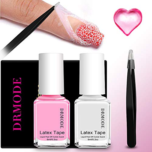 Liquid Latex for Nails - DR.MODE 2PCS Peel Off Latex Tape Nail Polish Barrier Cuticle Guard Skin Protector with Pointed Tweezers for Messy Nail Art
