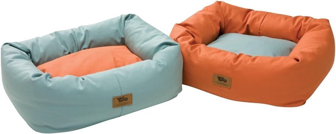 Amazon Com West Paw Design Organic Bumper Stuffed Dog Bed Organic Cotton Stillwater Stillwater Large 37 X 32 Pet Beds Pet Supplies