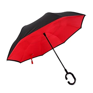 RainStoppers W022 Auto Open 16-Panel Rainbow Umbrella with Wood ...