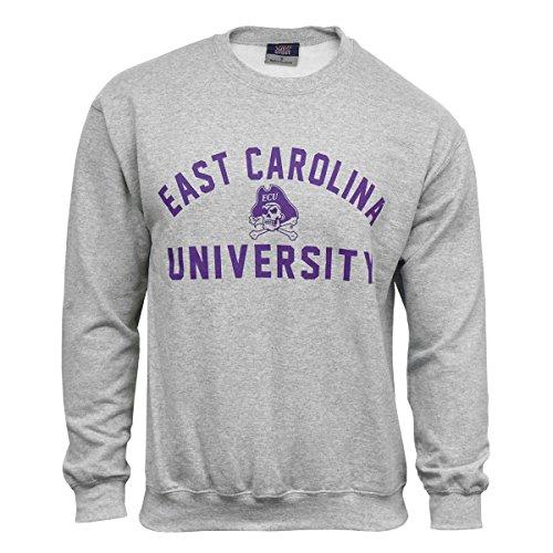 ECU Grey Fleece Sweatshirt with East Carolina University and Jolly Roger Graphic - Jolly Sweatshirt Roger