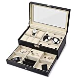 Juns 6 slots watch box Jewelry Organizer Lockable Sunglass Display Case with Black Faux Leather