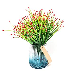 Yunuo 6PCS Mini Fruits Grasses Plants Artificial Flowers for Home Wedding Party Decor (red) 5
