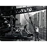 Construction Builder Worker Man Crane Retro Old BW 32x24 Print Poster