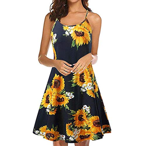 Women's Summer Vintage Printed Sleeveless Blackless Strappy Beach Swing Causal Dress