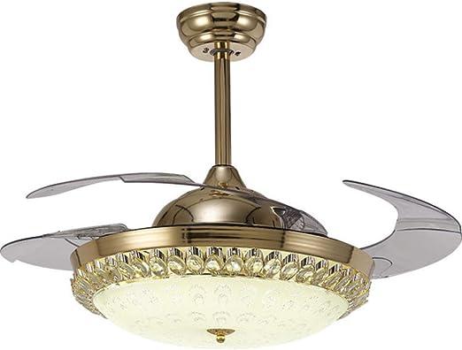 ZKKAW 42LED Cristal Techo Invisible Ventilador Araña de luz ...