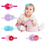 Baby Headbands for Girls Hair Bows Headband Hair Bands for Newborn Toddlers (Chiffon Flowers) (type 1)