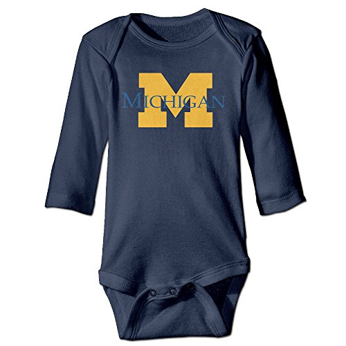 HYRONE University Of Michigan Ann Arbor Baby Bodysuit Long Sleeve JumpSuit Romper Size 24 Months Navy