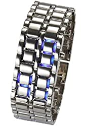New LED Light Mens Womens men digital Sport Wrist Watch (silver wrist with blue led)