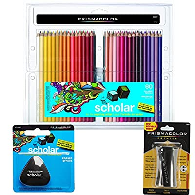 Prismacolor Scholar Colored Pencils 60-Count, Triangular Scholar Pencil Eraser and Premier Pencil Sharpener