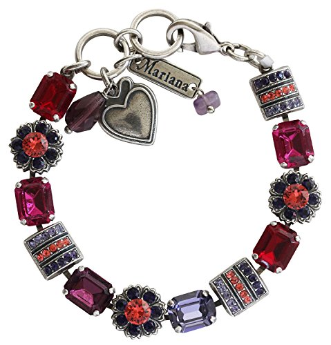 Crystal Rectangular Bracelets (Mariana Silvertone Rectangular Flower Crystal Bracelet, 7