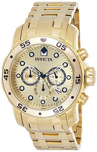Invicta Men's Pro Diver Scuba 48mm Gold Tone Stainless Steel Chronograph Quartz Watch, Gold (Model: 0074)