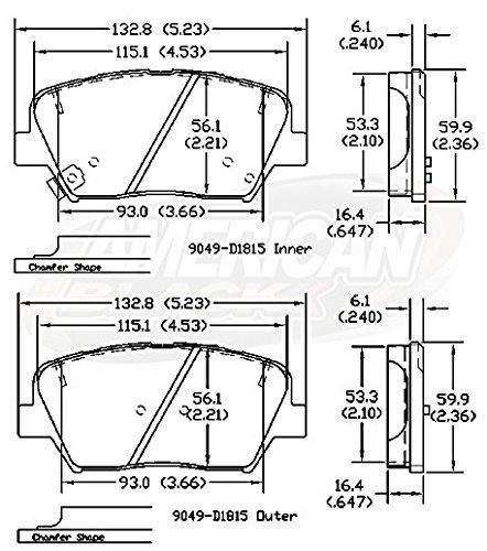 Perfect fit OE Premium Quality American Black ABD1815C Professional Ceramic Front Disc Brake Pad Set Compatible With Hyundai Santa Fe 4 Cylinder 2017 // Kia Sorento 2015-2016 QUIET and DUST FREE