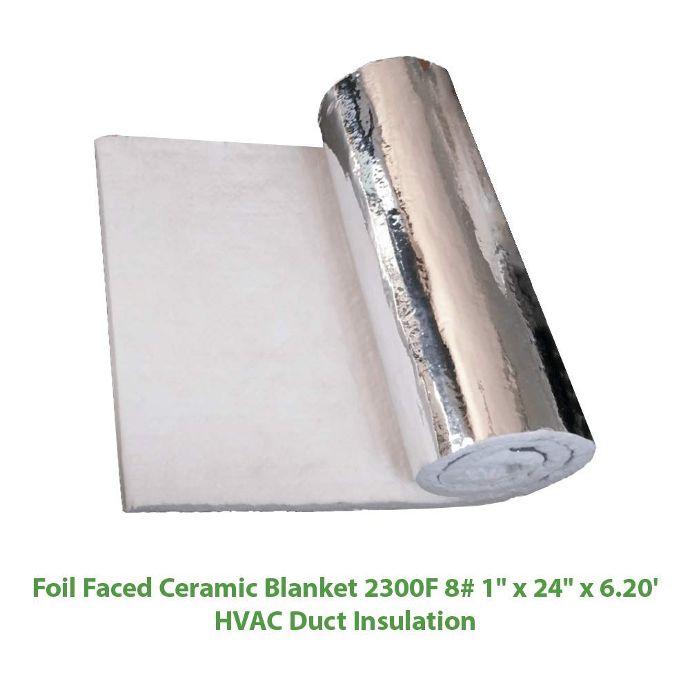 Foil Faced Ceramic Blanket (2300F 8#) (1'' X 24'' x 6.20') for HVAC Duct Insulation
