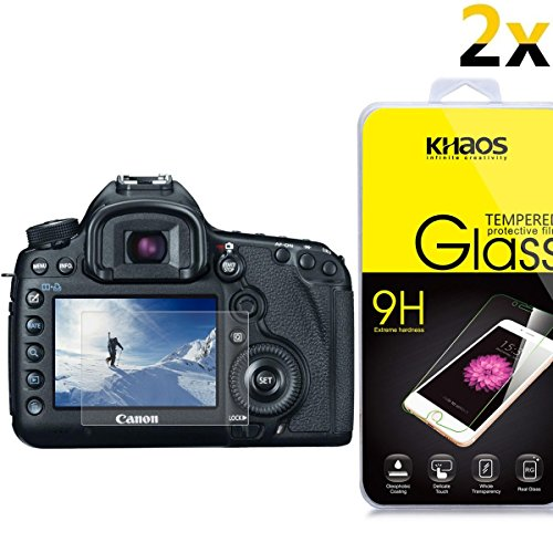 [2-Pack] KHAOS for Canon 1DX / 5D Mark III/EOS 5Ds [Tempered Glass] Screen Protector with Lifetime Replacement Warranty (Canon 1dx Screen Protector)