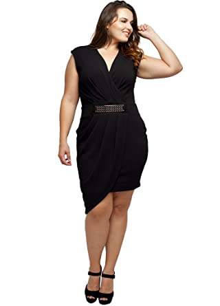 Stylzoo Women\'s Junior Plus Size Draped Dress with Asymmetrical Hemline