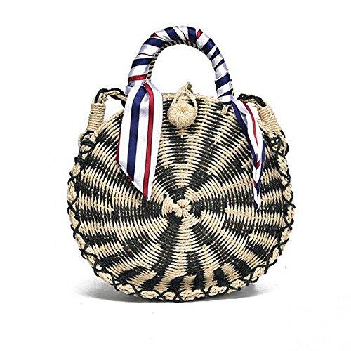 Meaeo Bohemia Style Paja Mujeres Bolsos Circulares Verano Playa Tejida A Mano Señora Bolsos De Hombro Alta Moda, Oro Black