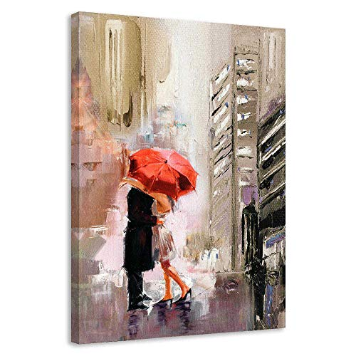 BYXART Framed Wall Art Street Scenery Canvas Prints Painting Romantic Couple with Red Umbrella Wall Decorations for Living Room Bedroom Home Office Decor (20x30inx1, Brown)