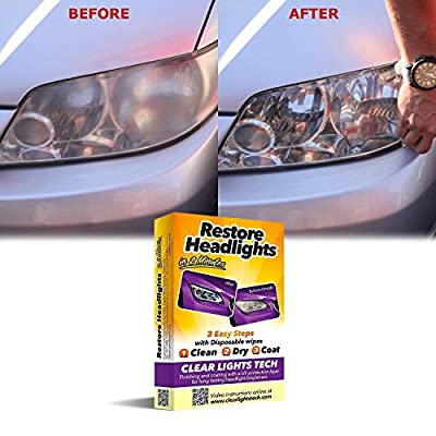 Clear Lights Tech Headlight Restore Wipes, 2 Minutes with UV Protection Layer