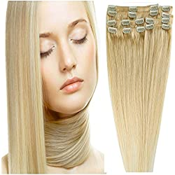 """Clip In Human Hair Extensions Clip On 16""""-22"""" 8 pcs Full Head 18 clips for You"""