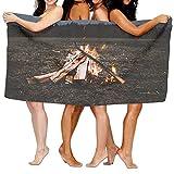 Xianjingshui 31x51 Inch High Absorbency Bath Towel Bonfire Firewood Lightweight Large Bath Sheet Beach Home Spa Pool Gym Travel