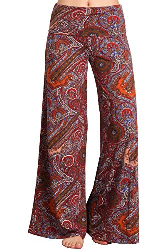 HEYHUN Plus Size Womens Tie Dye Solid Wide Leg Bottom Boho Hippie Lounge Palazzo Pants - Burgundy - 3XL -