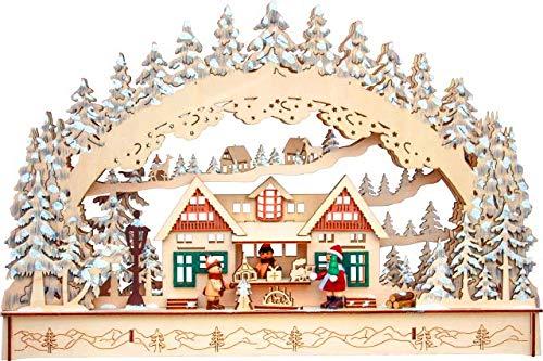 Haus und Gartenschmuck Leuchter Schwibbogen Weihnachtsmarkt 45 x 30 x 8 cm mit LED Groß Weihnachten Leuchhter, Trafobetrieb möglich
