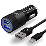 ONSON Car Charger,24W 4.8A Rapid Dual Port USB Car Charger+3FT Apple Lightning Cable Adapte to USB Cable for iPhone 7/7 Plus,6/6S/6 Plus/6S Plus,5S/5,iPad,iPod Nano 7(Black)
