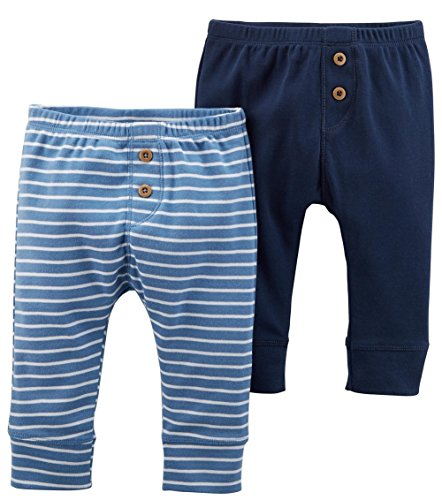 Carter's Baby Boys' 2 Pack Pants, Navy/Blue Wide, 3 Months