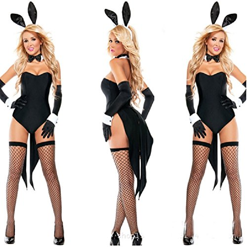 [Fanala Women Costume Sexy Black Bunny Halloween Rabbit Jumpsuit Cosplay Bodysuit] (Bunny Suit Sexy)