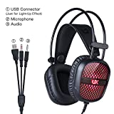 Botrong Noise Cancelling USB LED Light Wired Over-ear Stereo Headphones with Mic For Computer PC Computer and Laptop (Black)
