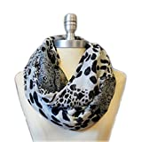 SCARF_TRADINGINC® Animal printed Infinity Loop Scarf Cowl (Leopard White Grey)