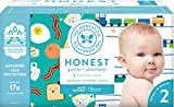 The Honest Company Club Box - Newborn Diapers, Size 2 - Trains & Breakfast Print with TrueAbsorb Technology | Eco-Friendly Core with Plant-Derived Materials | Hypoallergenic | 76 Count