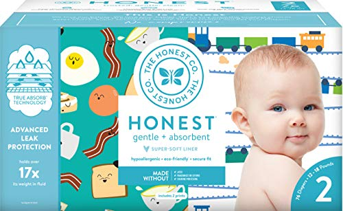 The Honest Company Club Box Diapers With Trueabsorb Technology Trains Breakfast Size 2 76 Count