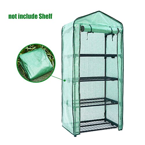 Mini Greenhouse Cover Replacement 4 Tier, PE Tier Home Plant Greenhouse Tent Outdoor Plastic(Without Iron Stand) ()
