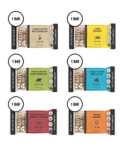 Kates Real Food Granola Bars 6 Pack | Variety Pack 1 of Each Flavor | Clean Energy, Organic Ingredients, Gluten Free, Non GMO | All Natural Delicious Health Snack