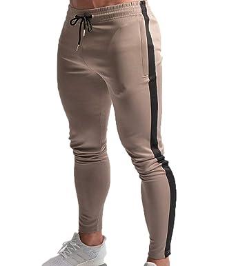 f0f7e96e01bd Huateng Pantalon Jogger Hommes Fitness Gymnastique Musculation Pantalon  pour Coureurs Pantalons De Survêtement Pantalon