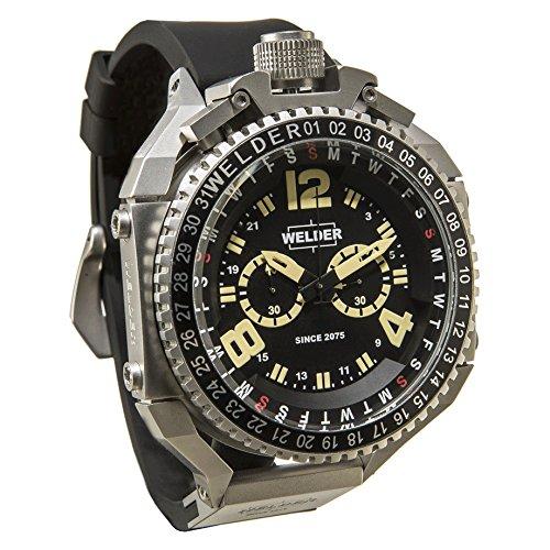 Reloj Cuarzo Welder para Hombre con Negro Cronógrafo Y Negro Caucho K39-2404: Amazon.es: Relojes