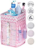 DIAPER CADDY ORGANIZER, nursery organizer: Best hanging Diaper Caddy for baby crib, playard, changing table, car, wall. Large Storage. Pink Grey Chevron Beige. Perfect baby shower gift for boy or girl